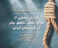 گزارش بخشی از نقض حقوق بشر در کوردستان ایران توسط نیروهای مسلح و نهادهای امنیتی جمهوری اسلامی در سە زمستان ١٣٩٨ شمسی